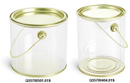 Clear PVC Pails w/ Gold Lacquer Base, Lid & Handle