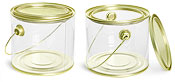 Clear PVC Pails with Gold Lacquer Trim