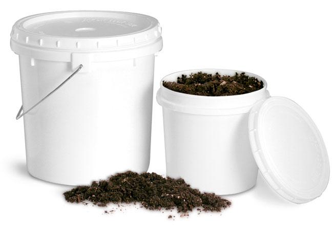 White Plastic Gardening Soil Storage Pails