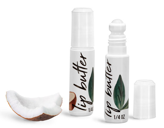 White Plastic Lip Balm Roll On Containers w/ Flat Cap