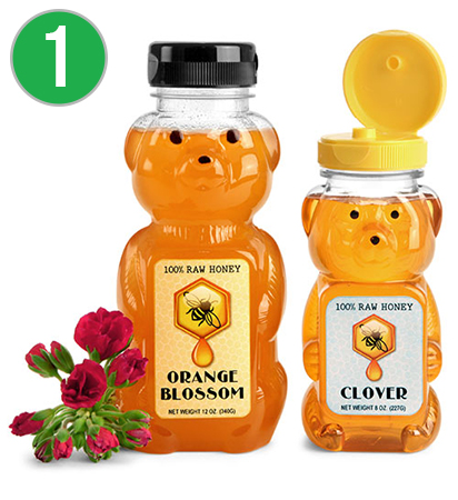 Clear PET Honey Bear Bottles with Lined Plastic Caps