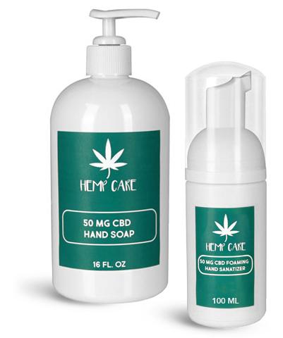White CBD Topical Body Care Bottles