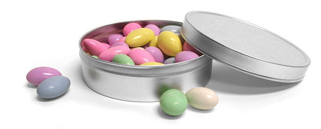 Round Silver Metal Tins Wedding Favor Ideas