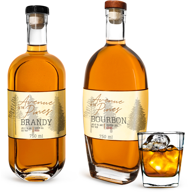 Clear Glass Brandy Bottles w/ Natural Corks