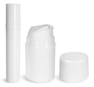 White Polypropylene Airless Pump Bottles w/ White Caps