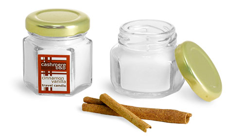 Clear Glass Hexagon Jars w/ Gold Lug Caps