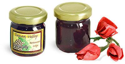 Clear Glass Jelly Jars w/ Gold Lug Caps