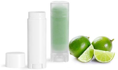Oval Plastic Lip Balm Tubes w/ Caps