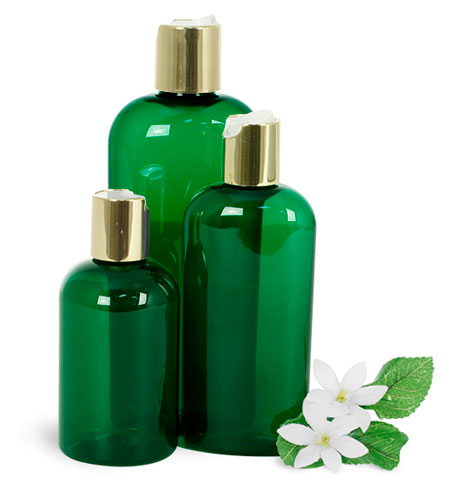 Green PET Bath & Body Bottles w/ Gold Disc Top Caps