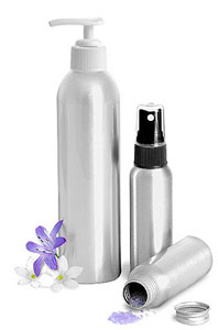 Aluminum Bottles w/ Lotion Pumps Or Sprayers