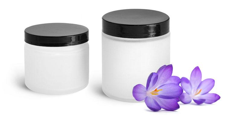 Glass Bath Salt Jars w/ Smooth Lined Black Caps