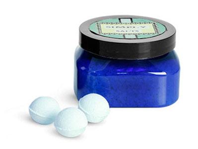 Blue PET Bath Salt Jars With Black PS22 Lined Caps