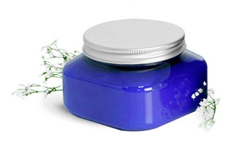 Blue PET Square Jars With Aluminum F217 Lined Caps
