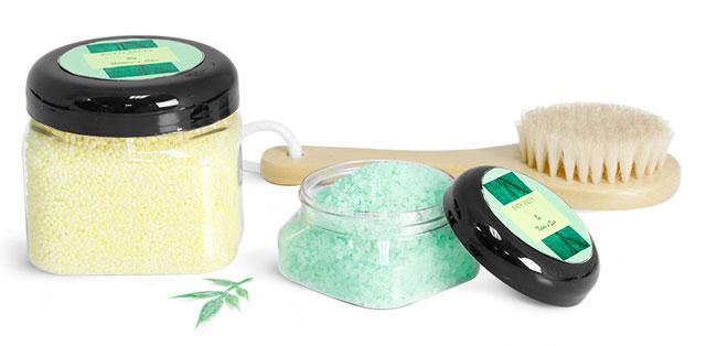 Clear Square PET Bath Salt Jars With Black Dome F217 Lined Caps