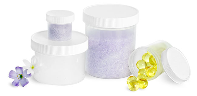 Natural Polypro Jars With Ribbed White Screw Caps