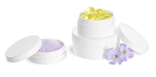 White Polypro Thick Wall Jars w/ Lined Caps