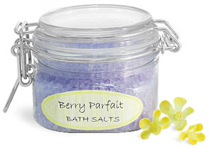 Plastic Bath Salt Wire Bale Jars With Hinged Lids