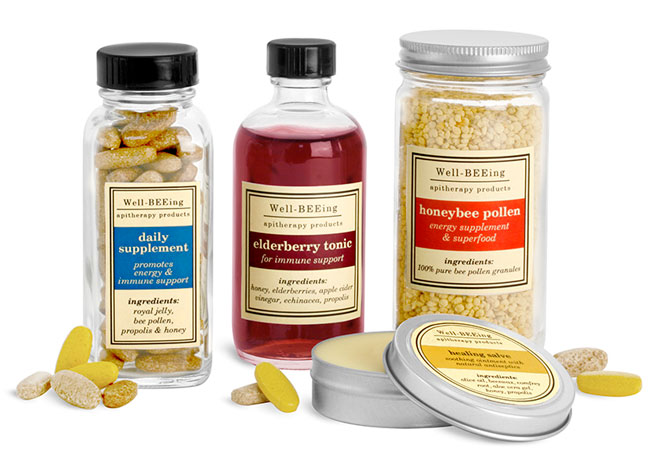 Apitherapy & Honey Supplement Bottles & Tins
