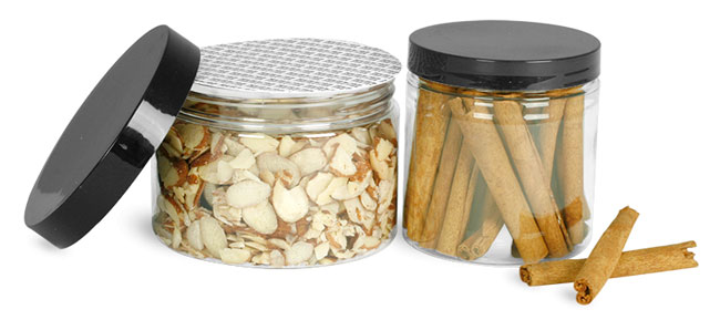 Clear PET Jars With Smooth Lined Black Caps