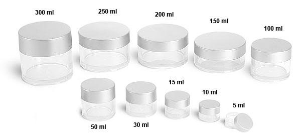 Plastic Jars, PETG Jars w/ Lined Silver Caps