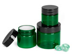 Green PET Jars With Smooth Black Lined Caps