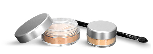 Cosmetic Jars With Matte Silver Caps