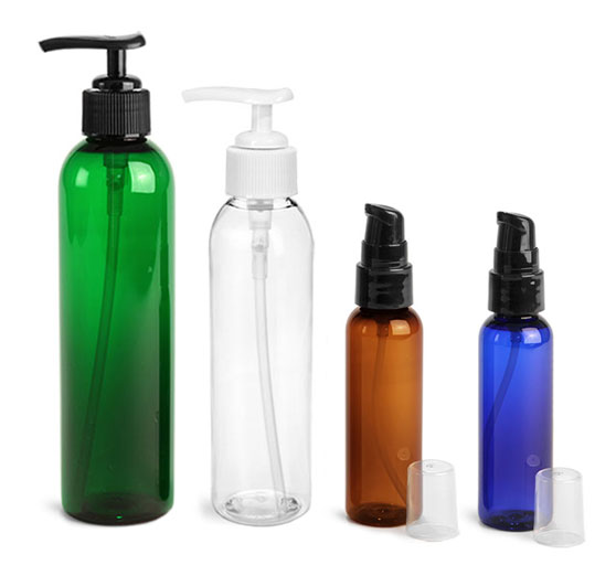 PET Cosmo Round Bottles with Lotion and Treatment Pumps