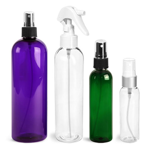 PET Cosmo Round Bottles with Sprayers
