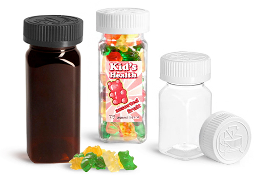 PET Square Bottles with Child Resistant Caps for Supplements