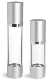 Silver Matte Airless Pump Bottles