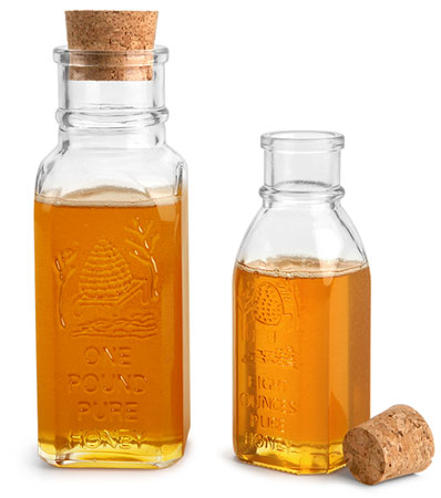 Glass Muth Honey Bottles with Cork Stoppers