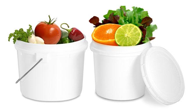 White Plastic Countertop Compost Pails