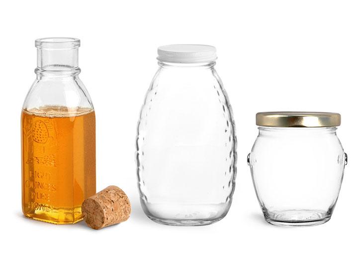 Glass Honey Jars and Bottles
