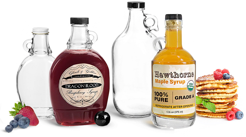 Glass Syrup Bottles with Handles