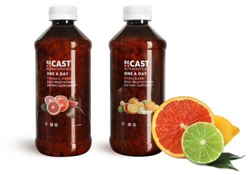Amber Plastic Multivitamin Bottles