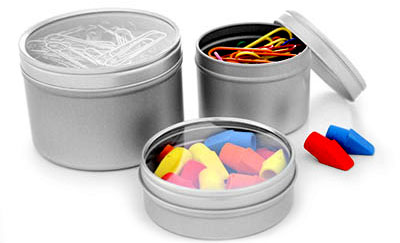 Clear Top Tins To Organize Your Office