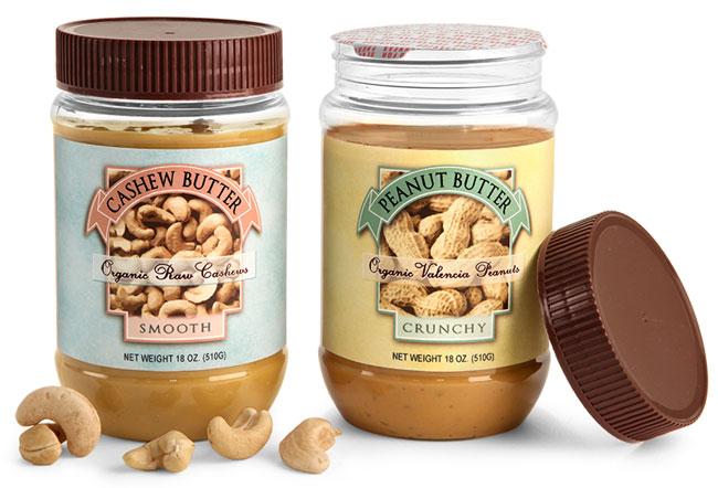 Clear PET Peanut Butter Jars