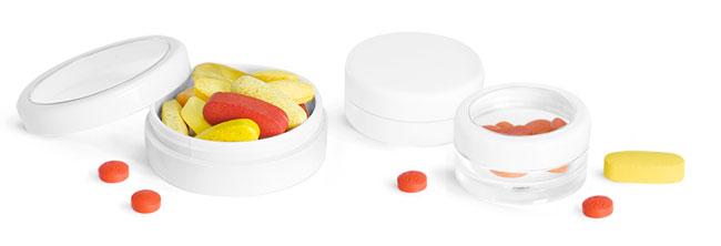 Plastic Pill Jars With White Or Clear Caps