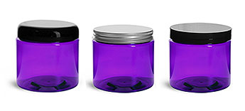 PURPLE PET JARS W/ VARIETY OF CAPS