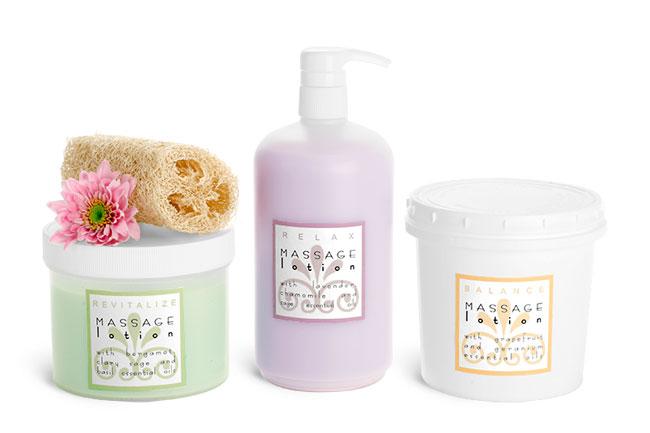 Bulk Plastic Massage Lotion Bottles & Jars