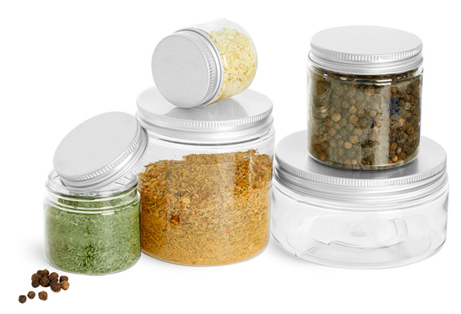 Clear PET Spice Jars w/ Lined Aluminum Caps