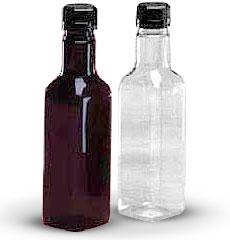 Plastic Bottles, 11 oz Square PET Sauce Bottles