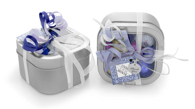 Square Clear Top Tins Wedding Ideas