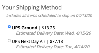 Ship method for Subscription Orders