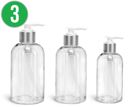 Clear PET Boston Round Bottles with Lotion Pumps