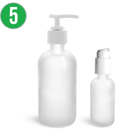 Frosted Glass Boston Round Bottles with White Pumps