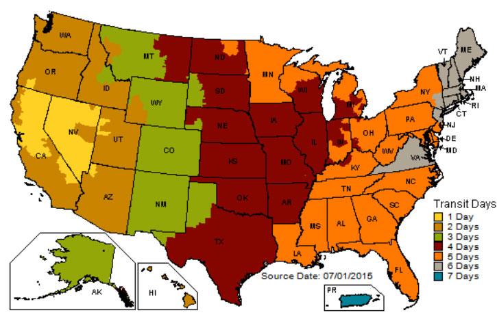USA UPS Ground Map (Shipments from Reno, NV)